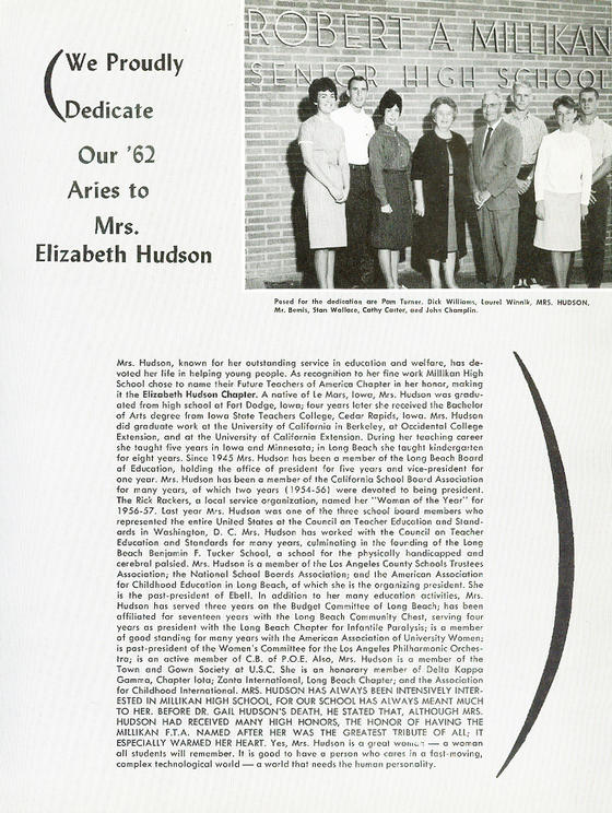Scanned Photo of Elizabeth Hudson Yearbook Dedication